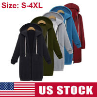 Plus Winter Women Zipper Hoodie Long Sweater Hooded Jacket Sweatshirt Coat S-4XL