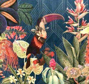 Toucan Colibri Monkey Lemur Forest Jungle Italian Velvet Blue Art Deco Botanical