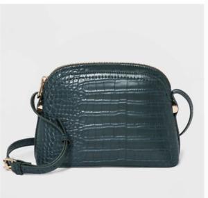 Dome Crossbody Bag Handbag Purse - A New Day  Green, Alligator Print. NWT