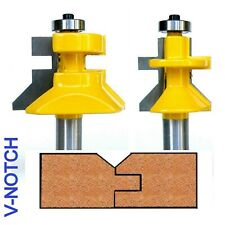 "2 pc 1/2"" Shank V-Joint V-notch Tongue and Groove Joint Router Bit Set S"