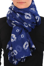 Navy Blue With Sky Blue Lips Unisex Scarf and Beach Sarong (SF000701)