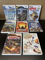 8 Game Wii Lot-Cabelas Survival,Winter Sports,Pinball,Quad Bikes,Fishing,etc.
