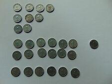 28 monedas DDR 1 peniques 1948a-1950a, km#1, 1952a-1953a, 1952e, km#5, aluminio