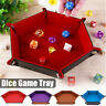 Foldable Dice Tray PU Leather Fruit Keys Toys Table Tray Dish Plate Duarble New