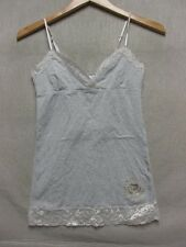 V5410 Victoria's Secret Gray/White Striped w/Lace Trim Top Women s
