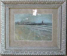 "Original Pastel By Madge ""Distant Pier"" Impressionist Excellent 19 X 23"