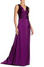 Vera Wang size 4 Sleeveless V-Neck Gown Ruched Floor Length Formal Dress small