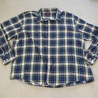 Untuckit 3XLC Plaid Men's Button Down Shirt Green Blue White