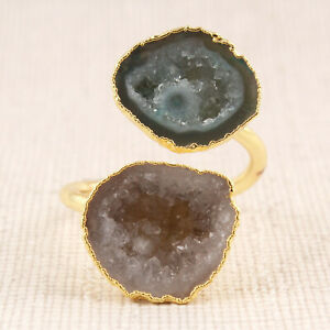Petrol Green Of-White Geode Druzy Yellow Gold plated Adjustable Ring For Her