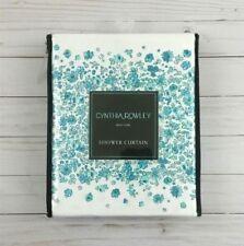 Cynthia Rowley Fabric Shower Curtain Ditzy Floral Cabana Stripe Teal