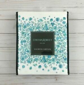 Cynthia Rowley Fabric Shower Curtain Ditzy Floral Cabana Stripe Teal