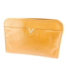 Mario Valentino Clutch Bag V Mark Leather Used Auth F1516