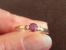 9 ct yellow gold Ruby & Diamond Trilogy engagement ring, not scrap, G Con