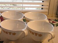 Vintage Corelle Butterfly Gold Hook Handle Coffee/Tea Cups Set of Four (4)