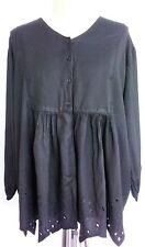 Black scalloped hem top Long Sleeved Size 14 16 18 Hippy Boho Gypsy buttoned