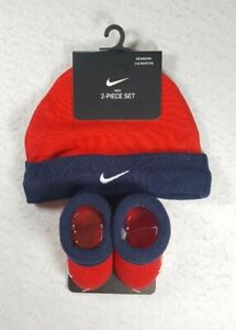 Nike Newborn (0-6) Months 2 Piece Set Hat And Booties Red Black - Free Shipping!