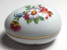 Beautiful Vintage Limoges France Rochard Franca Floral Porcelain Egg Gold Trim