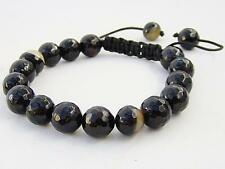 Men's Shamballa bracelet all 10mm  NATURAL BLACK COFFE AGATE beads
