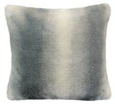 """Luxury Grey Cream Faux Fur Suede Supersoft Cushion Cover 17"""" - 43cm"""