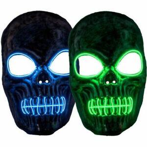 Skeleton Face Mask LED Light Up EL Halloween Party Costume Accessory mask