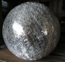 15 cm Große Glas Kugel Garten Glaskugel Lightball silber Antik Beschichtung