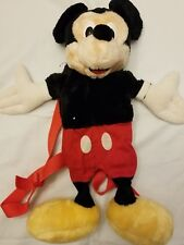 VINTAGE DISNEY MICKEY MOUSE BACKPACK Plush WITH Zippered Pouch FREE SHIPPING