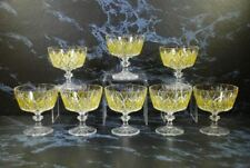 VTG REIMS FRANCE HARLEQUIN YELLOW DIAMOND CRYSTAL PARFAIT SAUCERS SHERBETS
