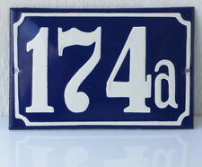 Vintage house door number 174a enamel porcelain plate plaque Poland