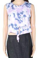 Erge Women's Top Blue Purple Size Large L Knit Tie Dye Knot Front Tank #084