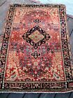 """1910 - 1920   ANTIQUE  SAROUK SMALL RUG  FULL PILE GREAT COLORS 4'8"""" X 3'1"""""""