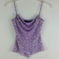 Rampage Womens Camisole Top Cowl-Neck Purple & White Floral Design Size S Summer