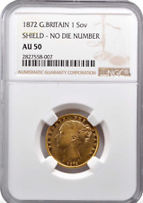 United Kingdom: Sovereign, 1872, London Mint - Queen Victoria - NGC AU-50 Luster