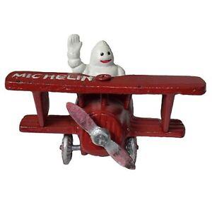 Michelin Man In Airplane Plane Mascot Figure Statue Bibendum Figurine Cast Iron