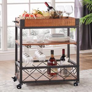 Vintage Rolling Serving Drink Trolley Wine Cart Kitchen Dining Shelf Bar Storage