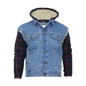 Men's Oversized Denim Jacket With Hoodie and Woven Sleeve for Big and Tall