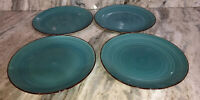 "Dinner Formal Plates Set Of 4 Turquoise Swirl Stoneware 10.5"" Royal Norfolk NEW"
