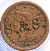 """1854 """"BRAIDED HAIR"""" HALF CENT, COUNTER STAMPED """"S & S"""" LOVE TOKEN!"""