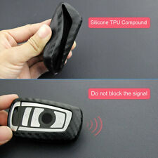Auto Car Carbon Fiber Look Key Case Square Holder Protector Accessories For BMW