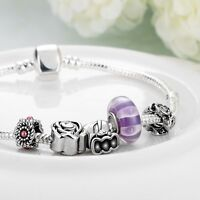 New 925 Sterling Silver Filled European Chain Charm Bracelet Bangle Xmas Gift