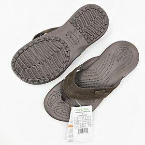 Crocs Mens Santa Cruz Leather Flip Flops Expresso Brown Size 7 NWT