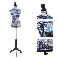 Female Mannequin Torso Dress Form Pattern Display W/Black Tripod Stand Fashion