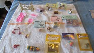 Lot of Vintage Miniature Doll House Accessories  &  Furniture Baby & Childrens'