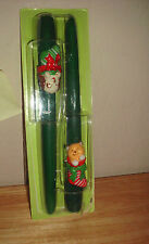 Candle - Dog and Cat - 10in - Dark Green Tapered - pair