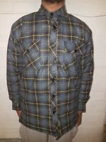 MENS BRANDED CASUAL WORKWEAR QUILTED PADDED CHECK STRIPE LUMBERJACK SHIRT JACKET