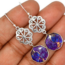 925 Sterling Silver Earring Jewelry Ae135164 New listing Artisan - Copper Purple Turquoise