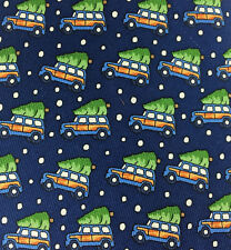 Vineyard Vines Christmas Tie Woodie Woody Tree Snow Navy Silk Wagon Car Jeep NEW