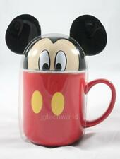New Disney Mikey Mouse Peek A Boo Coffee Mug Cup with Lid Ceramic Hot Cold Red