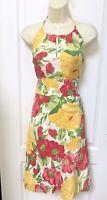 Ann Taylor LOFT Size 0 Pink White Yellow Green Floral Silk Halter Dress