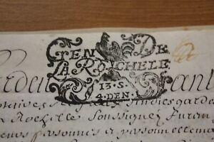 Vintage antique Original  Document 1700's La Rochelle