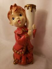 Vintage Hand Painted Ceramic Boy Candle Holder Figurine By STAR in Japan